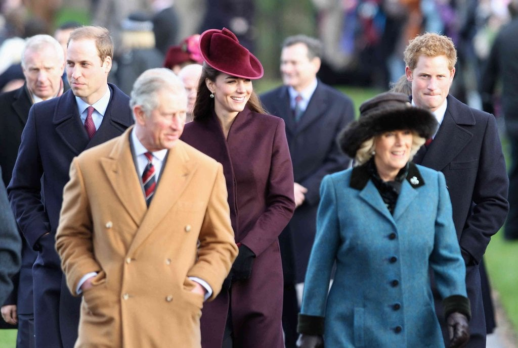 Known for her love of fascinators, she didn't disappoint in this velvet merlot version. Kate Middleton opted for a burgundy coat and fascinator for her first Christmas as part of the royal family.