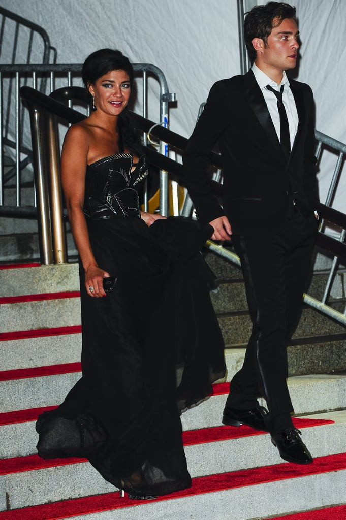 Ed Westwick and Jessica Szohr were spotted leaving the May 2009 Met Gala in high spirits.