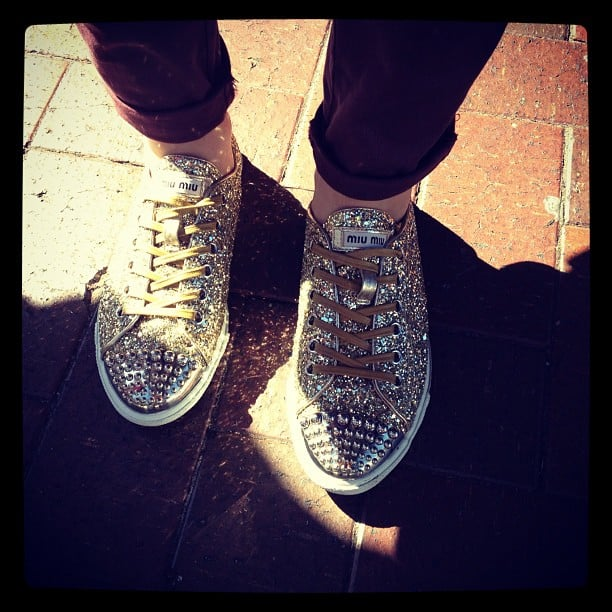 These Miu Miu glitter sneakers were hard to ignore.