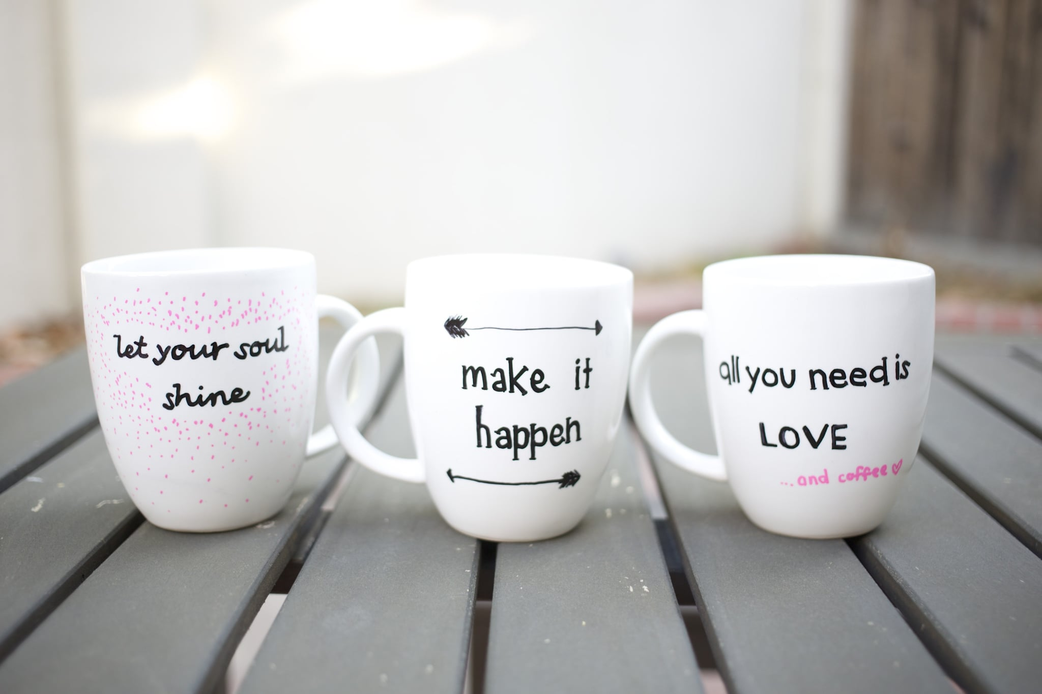 diy quote stenciled sharpie mugs popsugar smart living. Black Bedroom Furniture Sets. Home Design Ideas
