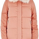 River Island Women's Pink Padded Coat With Faux Fur Trim ($180)