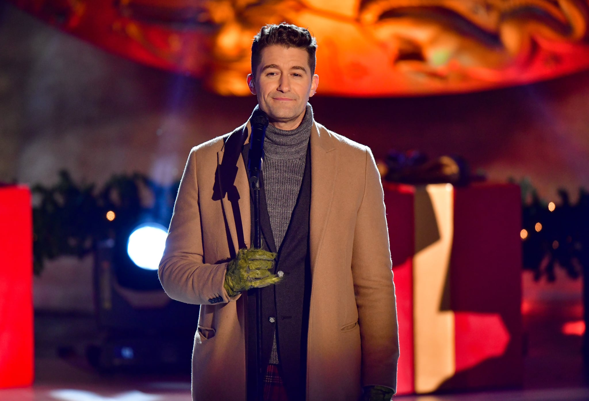 NEW YORK, NY - DECEMBER 01:  Matthew Morrison performs at the 88th Annual Rockefeller Centre Christmas Tree Lighting Pre-Tape at Rockefeller Centre on December 1, 2020 in New York City.  (Photo by James Devaney/GC Images)