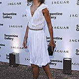 Trinny Woodall exaggerated her tan in a little white dress.