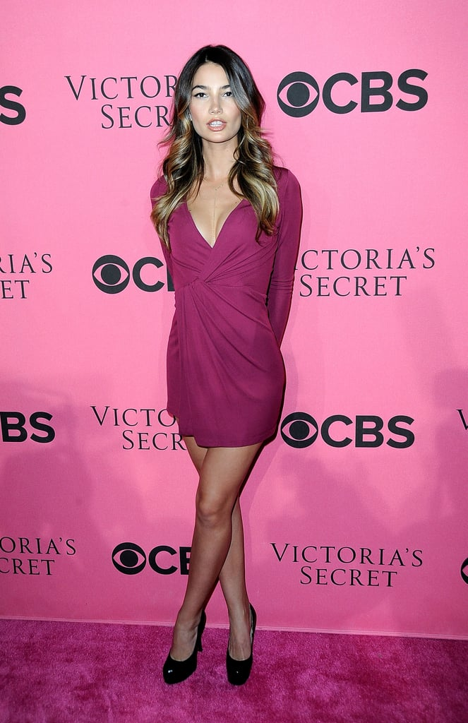 Lily Aldridge hit the pink carpet for a viewing party of Victoria's Secret Fashion Show.