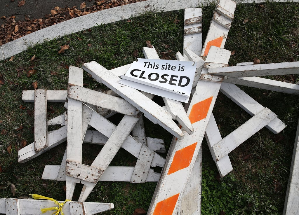 Barricades that were used to keep tourists out in DC were no longer needed.