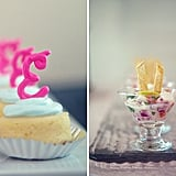 Remember who's the star! Mini cheesecakes are topped with the bride's first initial.