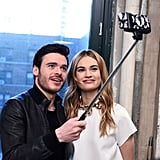 Richard Madden and Lily James got way too cute with a selfie stick in NYC on Monday.