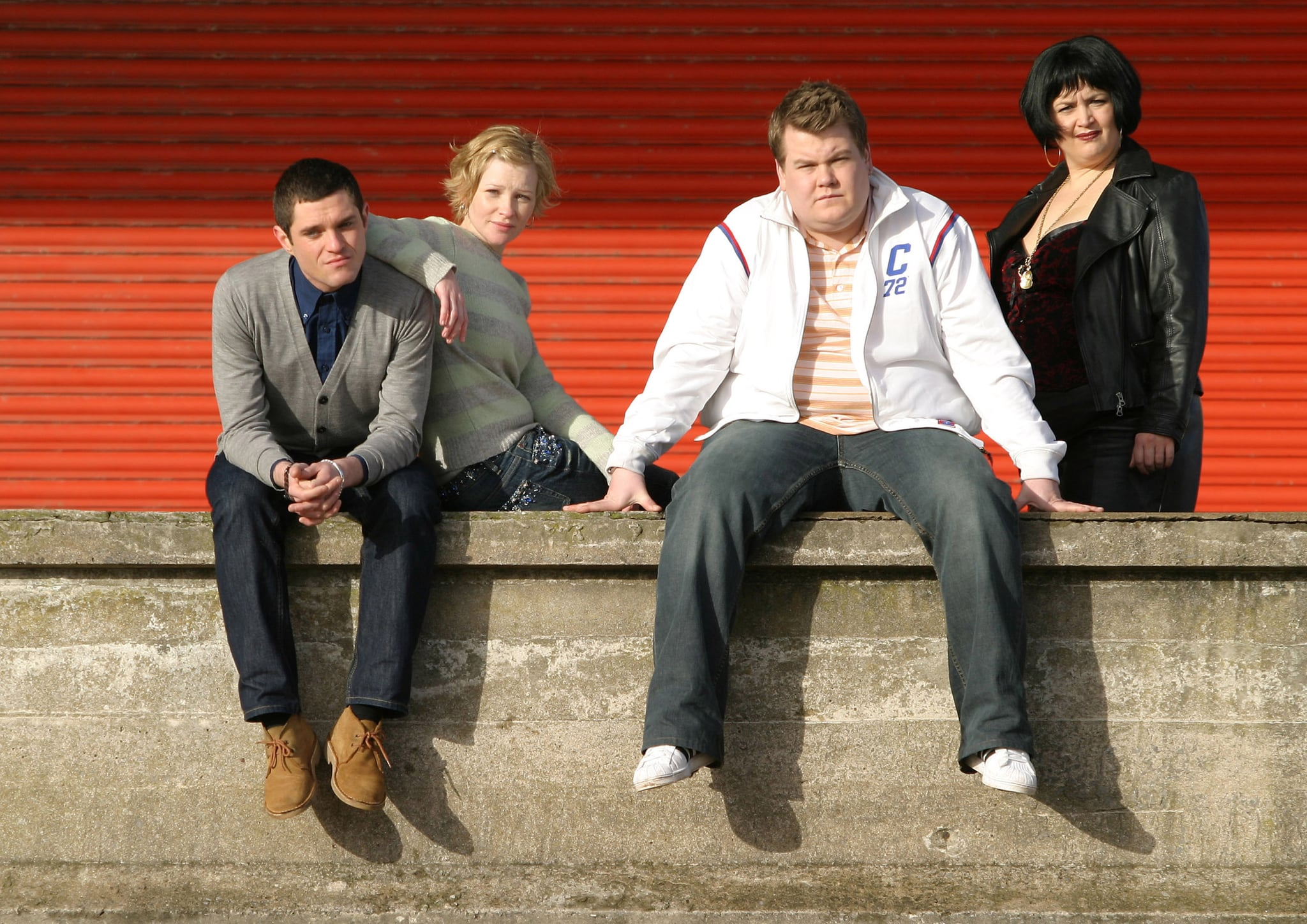 GAVIN AND STACEY, (from left): Mathew Horne, Joanna Page, James Corden, Ruth Jones, (Season 1), 2007-10.  BBC / Courtesy: Everett Collection