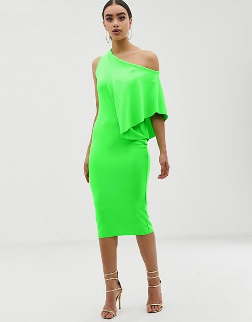 ASOS DESIGN Neon Cape Side Midi Pencil Dress