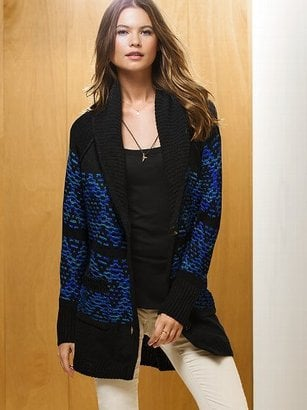 Victoria's Secret's shawl collar sweater coat ($70, originally $88) is begging to be worn by the fireside.