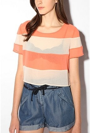 We're still stripe-obsessed for Spring, but this version of the striped shirt also makes use of the sheer trend and a great color palette!  Sparkle & Fade Chiffon Colorblock Crop Top ($49)