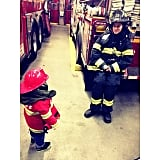 Expectant mama Doutzen Kroes spent the afternoon at her local fire house with her son, Phyllon, thanks to her makeup artist. Source: Instagram user doutzen