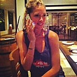 Doutzen Kroes took a phone call. Source: Instagram user doutzenkroes1