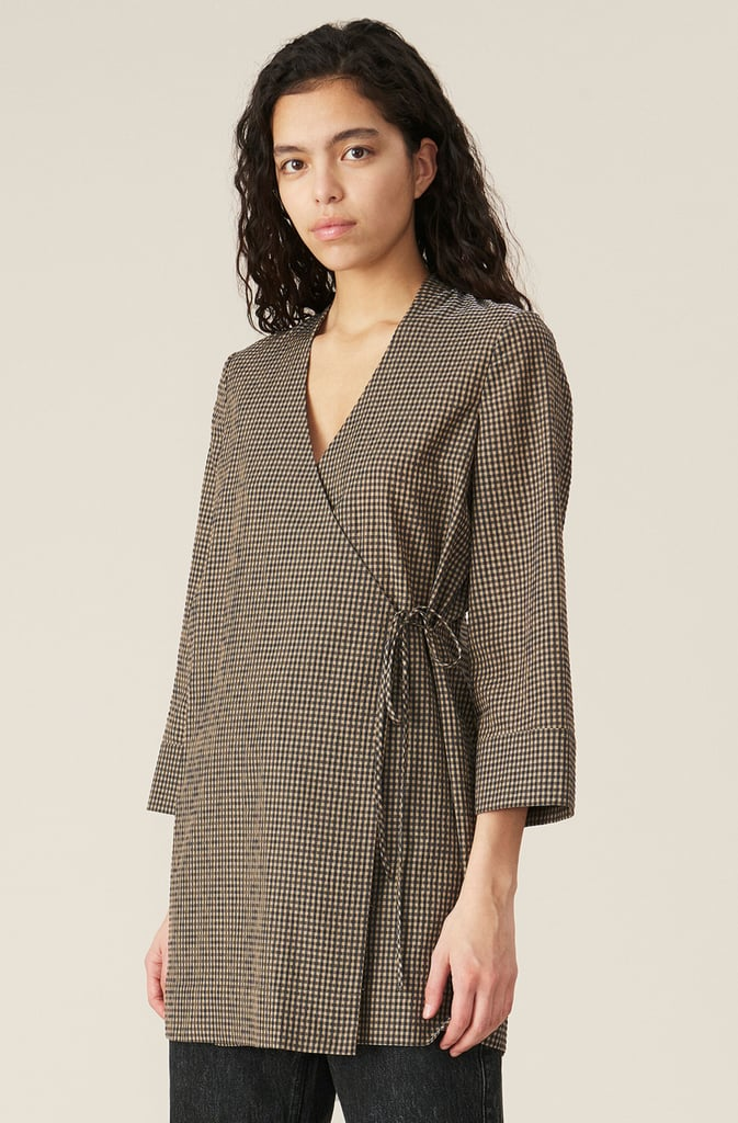 Ganni Seersucker Check Blazer Dress