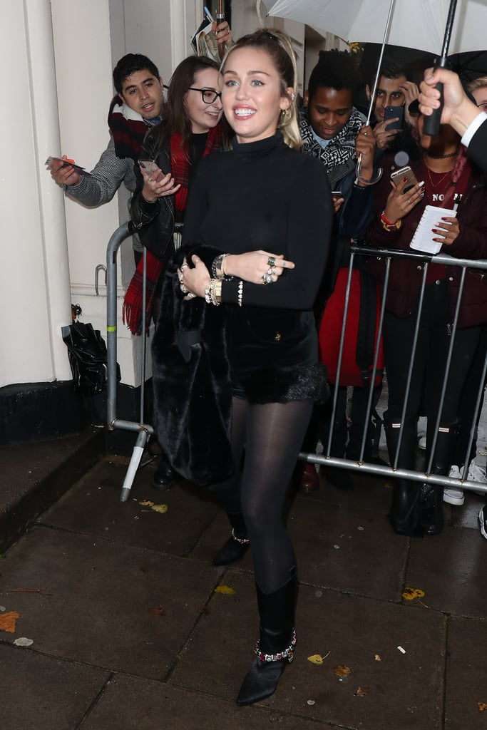 Miley Cyrus Leather Skirt in London 2018