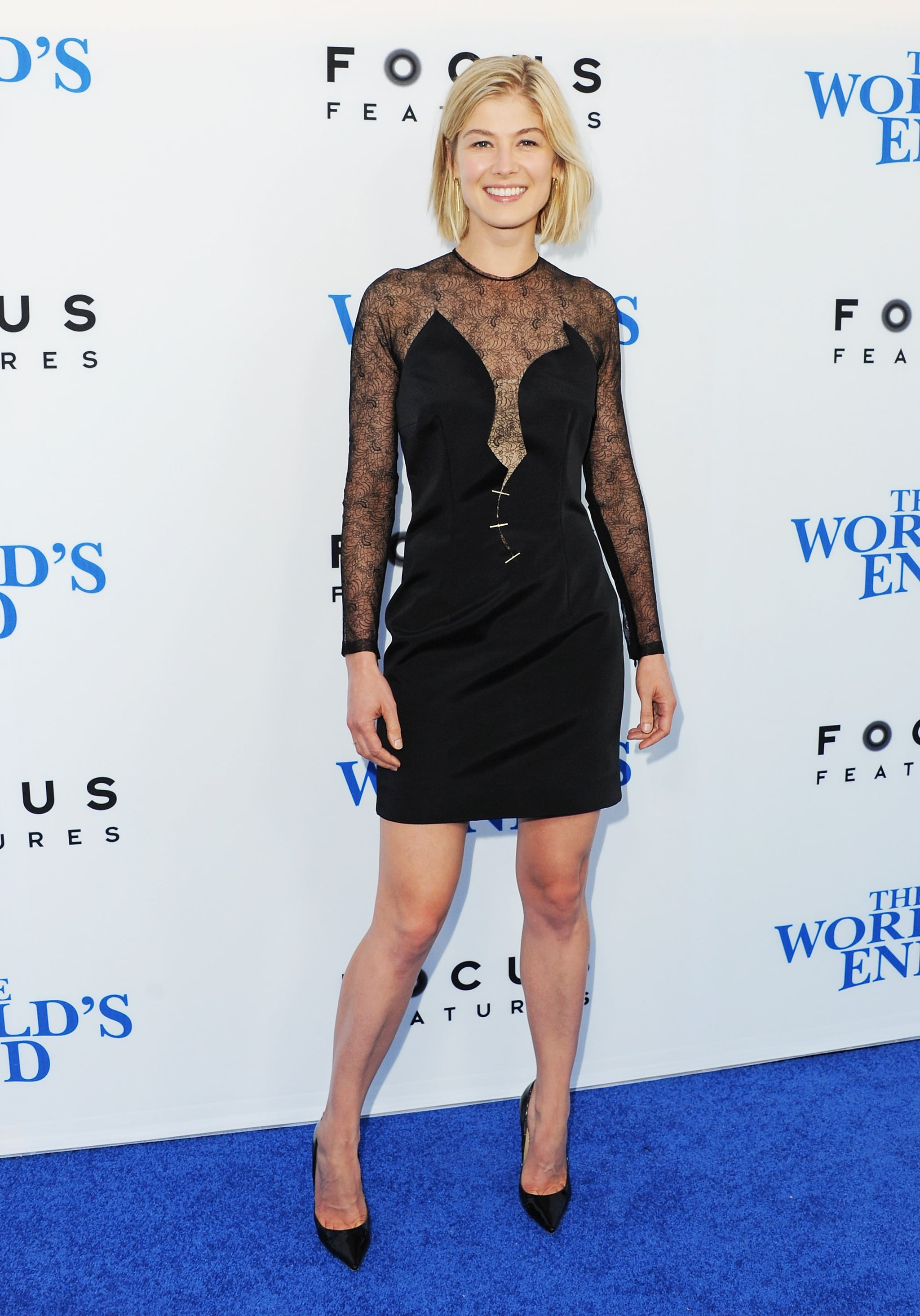 Rosamund Pike worked her curves in Marios Schwab's illusion LBD at the LA premiere of The World's End.