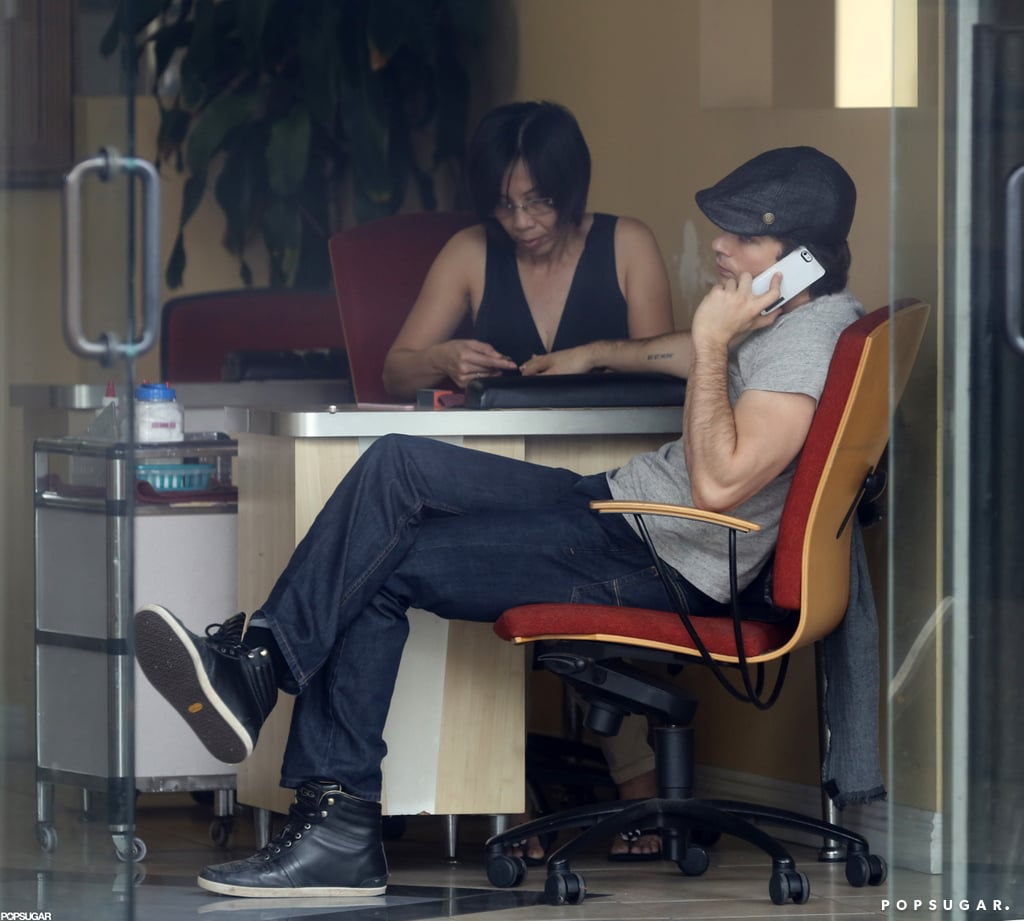 Ian Somerhalder was spotted getting a manicure in Santa Monica, CA.