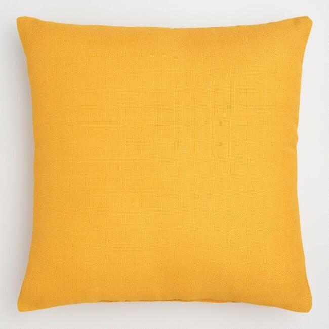 Golden Yellow Woven Indoor Outdoor Throw Pillow