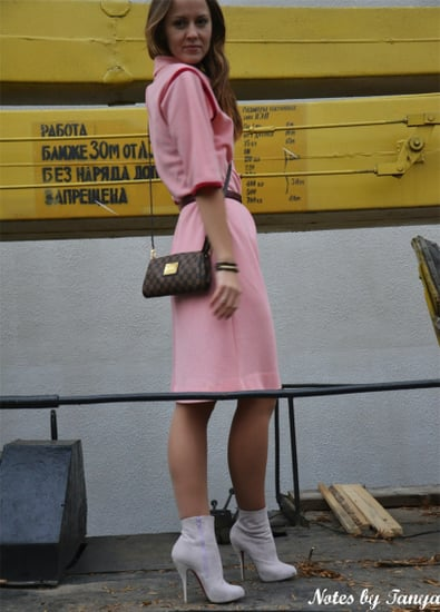 Vintage Pink Dress and Barbie Boots