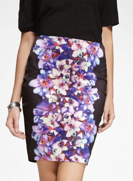 Express's hibiscus floral skirt ($70) is a must have for two reasons: the beautiful colors and the flattering black side panels. Imagine it coming to life with a chunky black sweater, tights, and killer pointy boots.