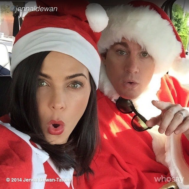 Channing Tatum and Jenna Dewan dressed up in full Santa suits.