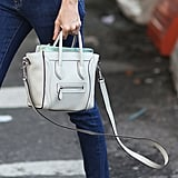 Taylor Tomasi Hill's mini Céline luggage tote was totally chic in white. Source: Greg Kessler