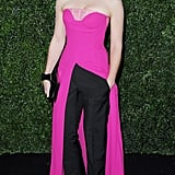 Ruth Wilson showed off her sartorial style in a Christian Dior look comprised of a hot-pink slit gown paired with black trousers.