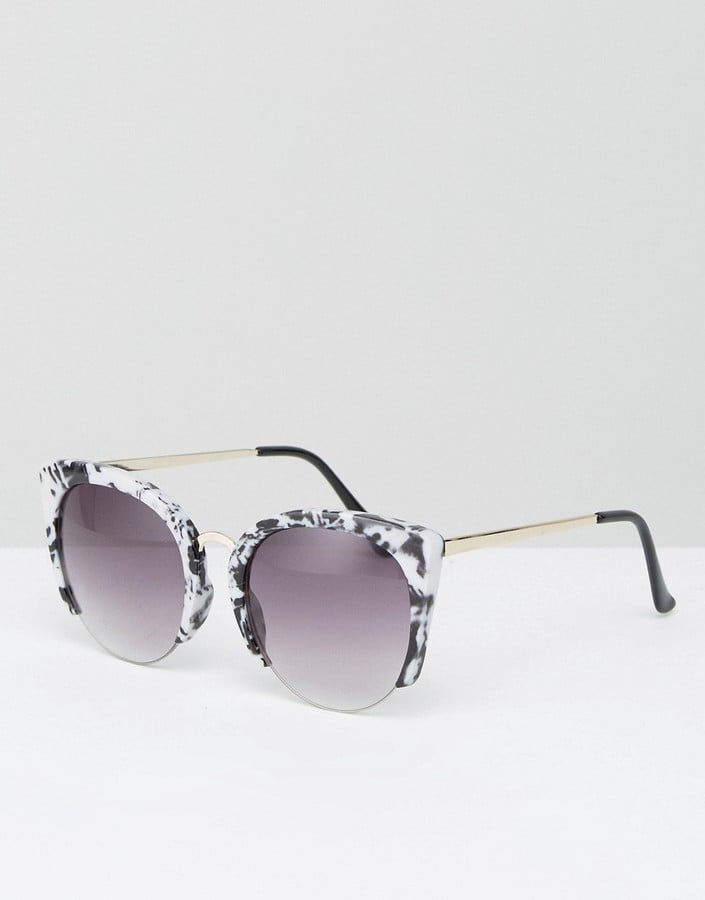 ASOS Cat Eye Sunglasses With Cut Away Frame In Marble Acetate Transfer