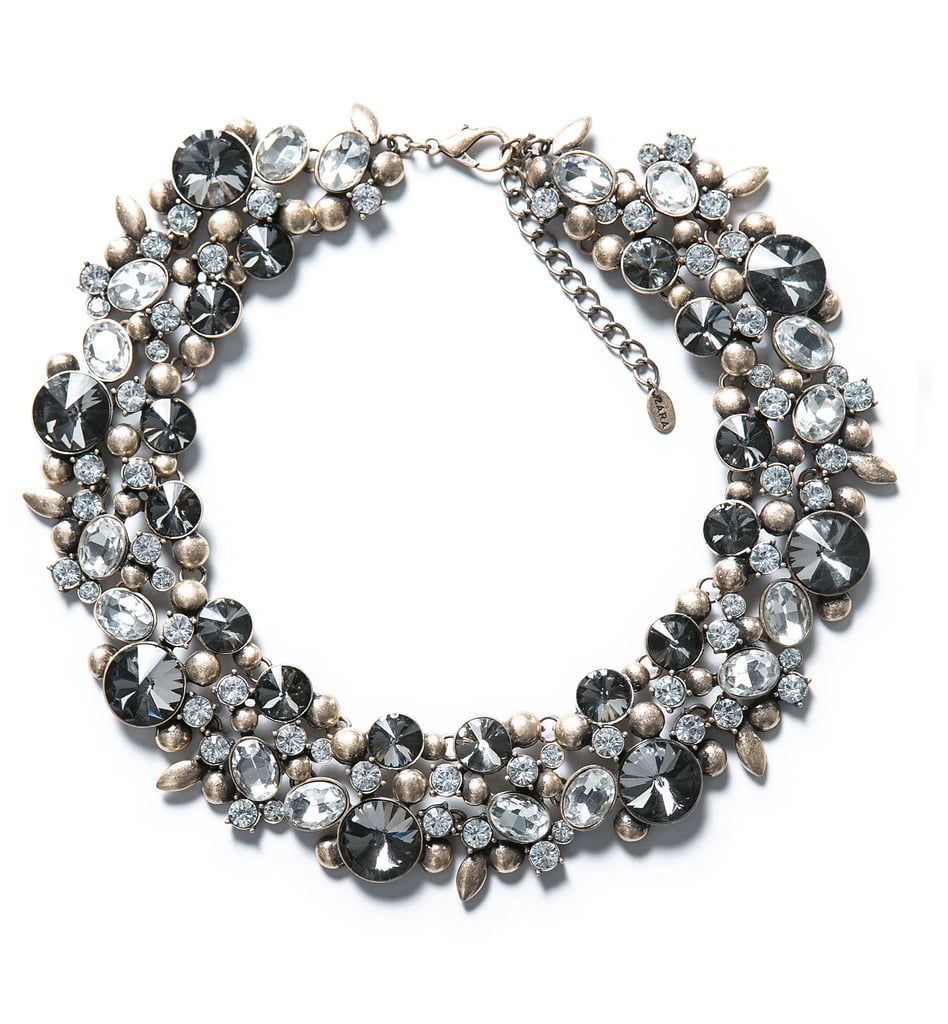 Zara gray rhinestone and silver flower necklace ($50)