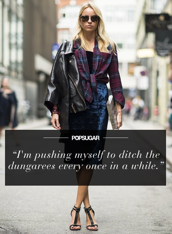 """""""My style resolution is to break out of my pants rut. I tend toward a laid-back style, and dresses usually feel too girlie to me; also, I am always cold, so pants have become my style crutch. For 2014, I'm pushing myself to ditch the dungarees every once in a while and find creative ways to make skirts and dresses more me! """" — Aemilia Madden, editorial assistant Source: Le 21ème 