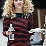 AnnaSophia Robb walked through the set of The Carrie Diaries with something to eat.