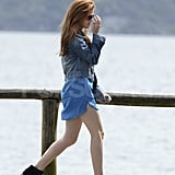 Isla Fisher walked to a boat on a dock in Sydney.