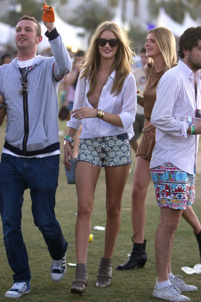 Rosie Huntington-Whiteley's outfit is pitch-perfect for Coachella: Style Stalker shirt, Christopher Kane for J Brand daisy motif cut-offs, teamed with Givenchy ankle boots.