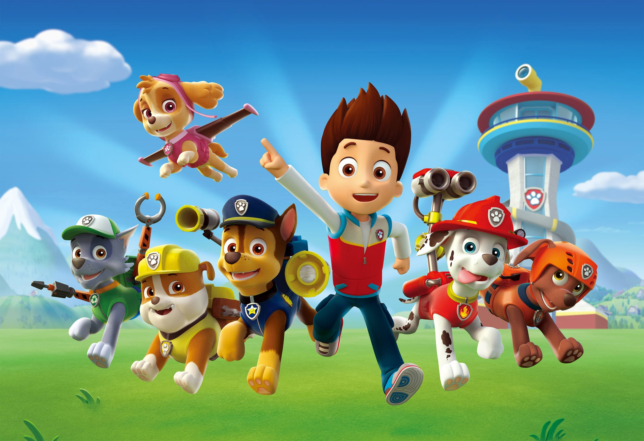 PAW PATROL, l-r: Skye (flying upper left), Zuma, Rubble, Chase, Ryder, Marshall, Rocky, (Season 1), 2013. Nickelodeon/courtesy Everett Collection