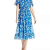 Shoshanna Villa Floral Flutter Midi Dress