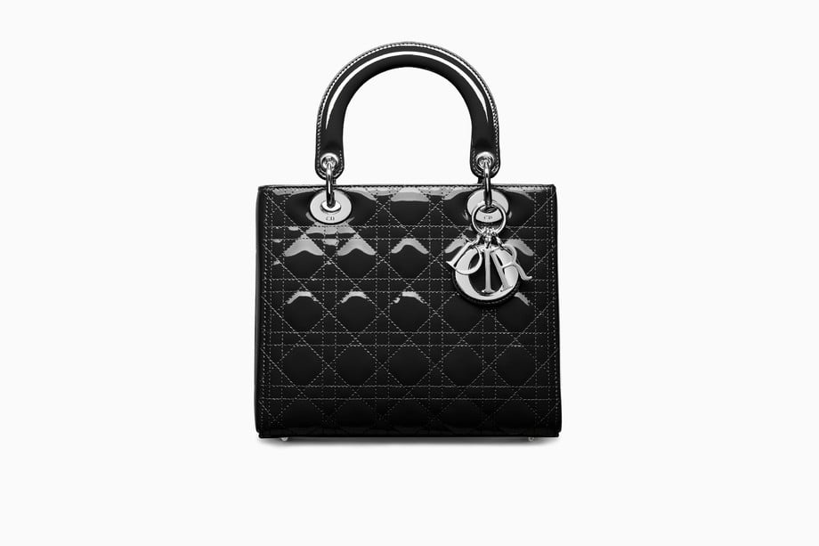 4a28b9a13143 Lady Dior Bag in Black Patent Cannage Calfskin. Share This Link