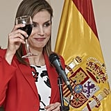 Queen Letizia toasted the Artillery Military Academy in Segovia in April.