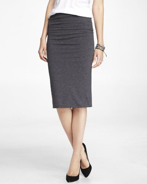 Express's stretch knit pencil skirt ($40) is just about the comfiest way to dress for the office — just add a blazer and heels.
