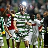 Gerard Butler left the field with the Celtic players.