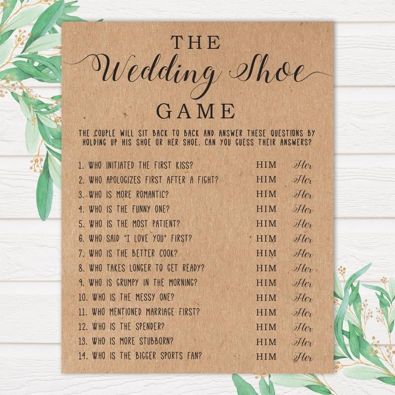 picture regarding Printable Wedding Shower Games known as The Marriage ceremony Shoe Printable Bridal Shower Activity Printable