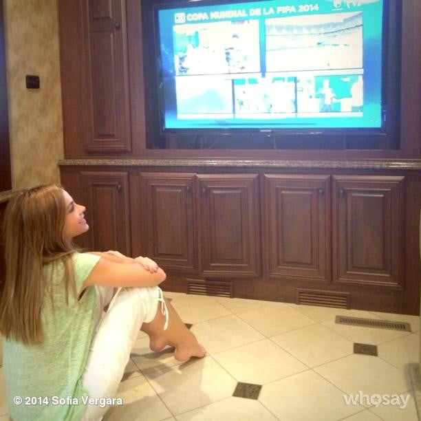 """""""Got the trailer tv working!!! Vamos Colombia!!!!"""" Sofia Vergara wrote while watching all the action. Source: Instagram user sofiavergara"""