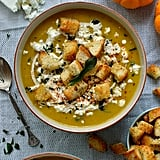 Spiced Roast Pumpkin Soup With Garlic Croutons, Feta, and Crispy Fried Sage