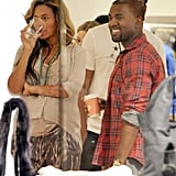 Jay-Z, Beyoncé, and Kanye hung out at Intermix in NYC.