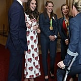 Three months later, Kate popped up in McQueen poppies for an Olympics reception at Buckingham Palace.