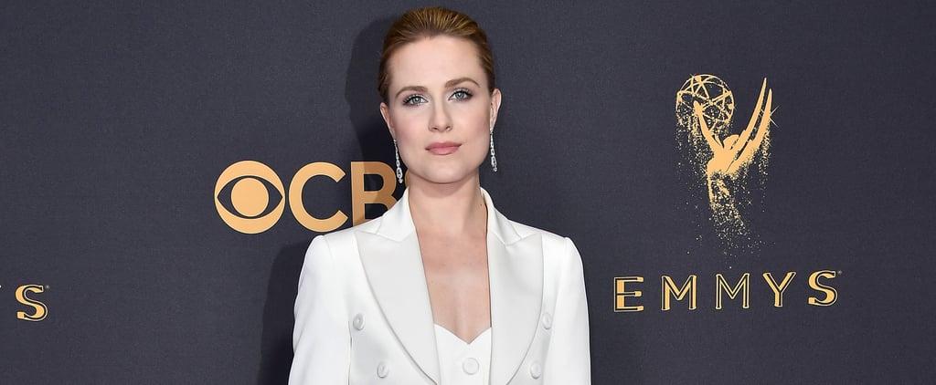 Evan Rachel Wood Wears Jeremy Scott Pantsuit Emmys 2017
