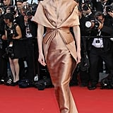 Tilda Swinton wowed in a copper Haider Ackermann gown with a pleated bodice at the Moonrise Kingdom screening at the Cannes Film Festival.