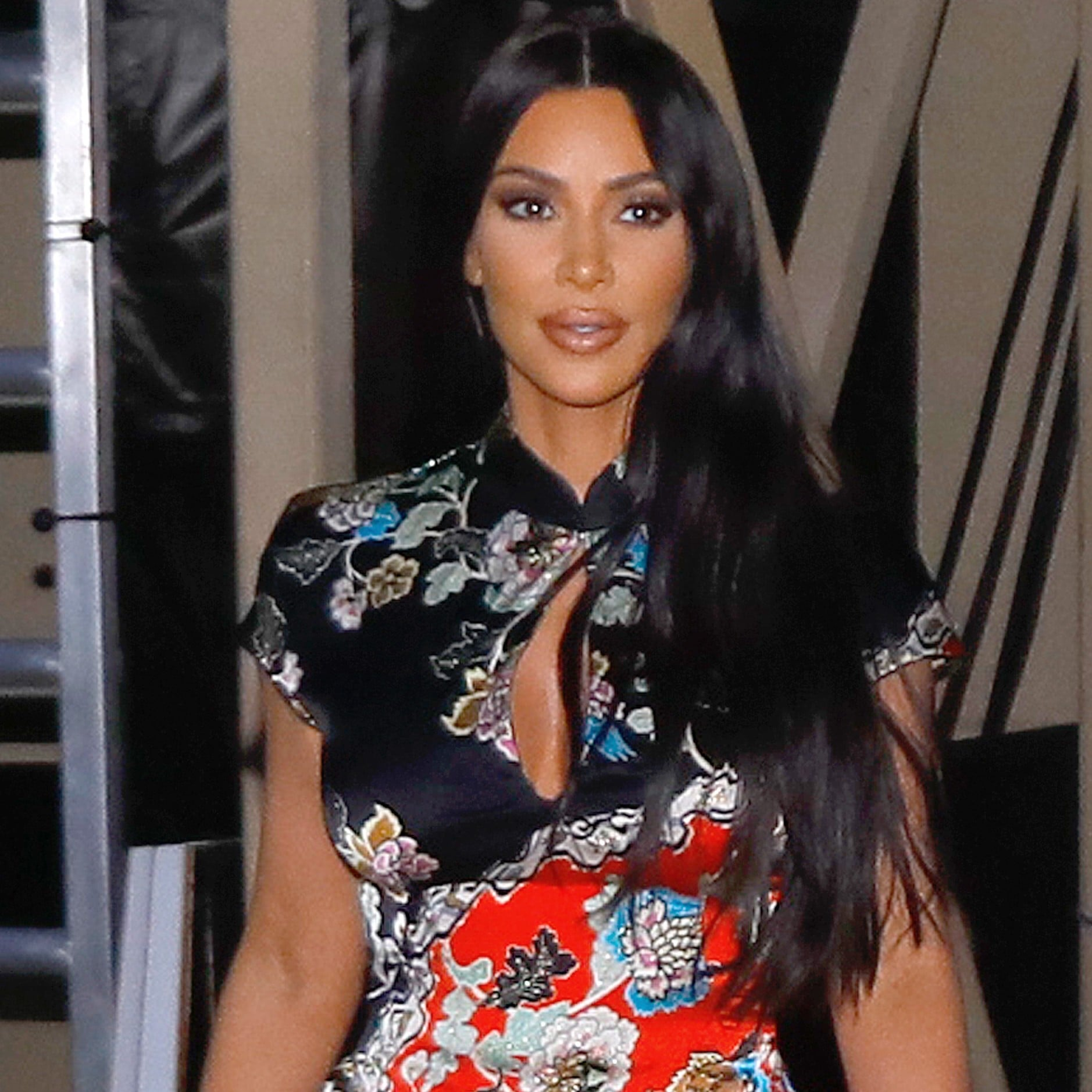 Kim Kardashian Floral Minidress at Jimmy Kimmel Live 2019