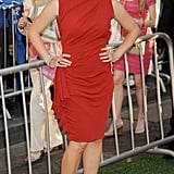 Jennifer Garner accessorized her red ensemble with bracelets, rings and earrings.