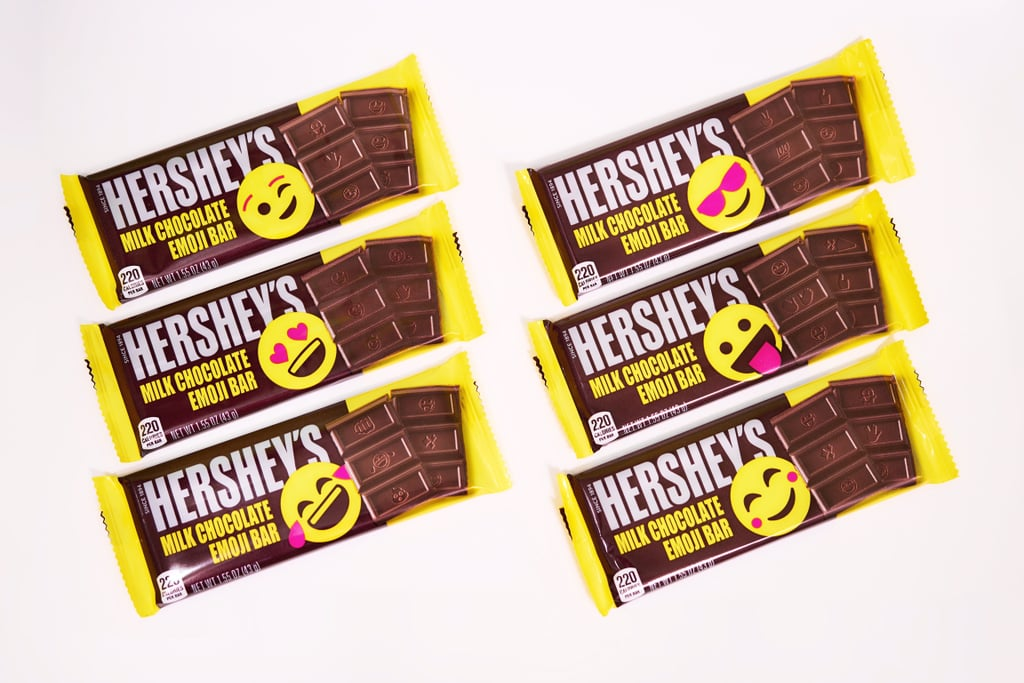 Want to know what's about the same size as your cellphone and also covered in emoji? After 125 years in business, Hershey's has given their classic chocolate bars a modern twist by replacing their famous logo on each chocolate block with emoji! That's right, from the peace sign to the winking face and the smiling poop emoji, the candy company has included 25 of the most beloved emoji. Share a heart-eyes square with your significant other or a cry-laughing piece with your best friend. There's even a party popper emoji to celebrate how much we love chocolate. (Hint: a lot.) Available for a limited time through the end of Summer, the new Hershey's Milk Chocolate Emoji Bars come in standard 1.55 oz. bars for $1, a 2.25 oz. snack-size bag also for $1, and a 9.45 oz. snack-size bag for $4. There will also be six different package designs, so choose your mood and express yourself with chocolate.      Related:                                                                                                           Mint Dark Chocolate KitKats Are Officially Coming This Year, and We're Suddenly Impatient