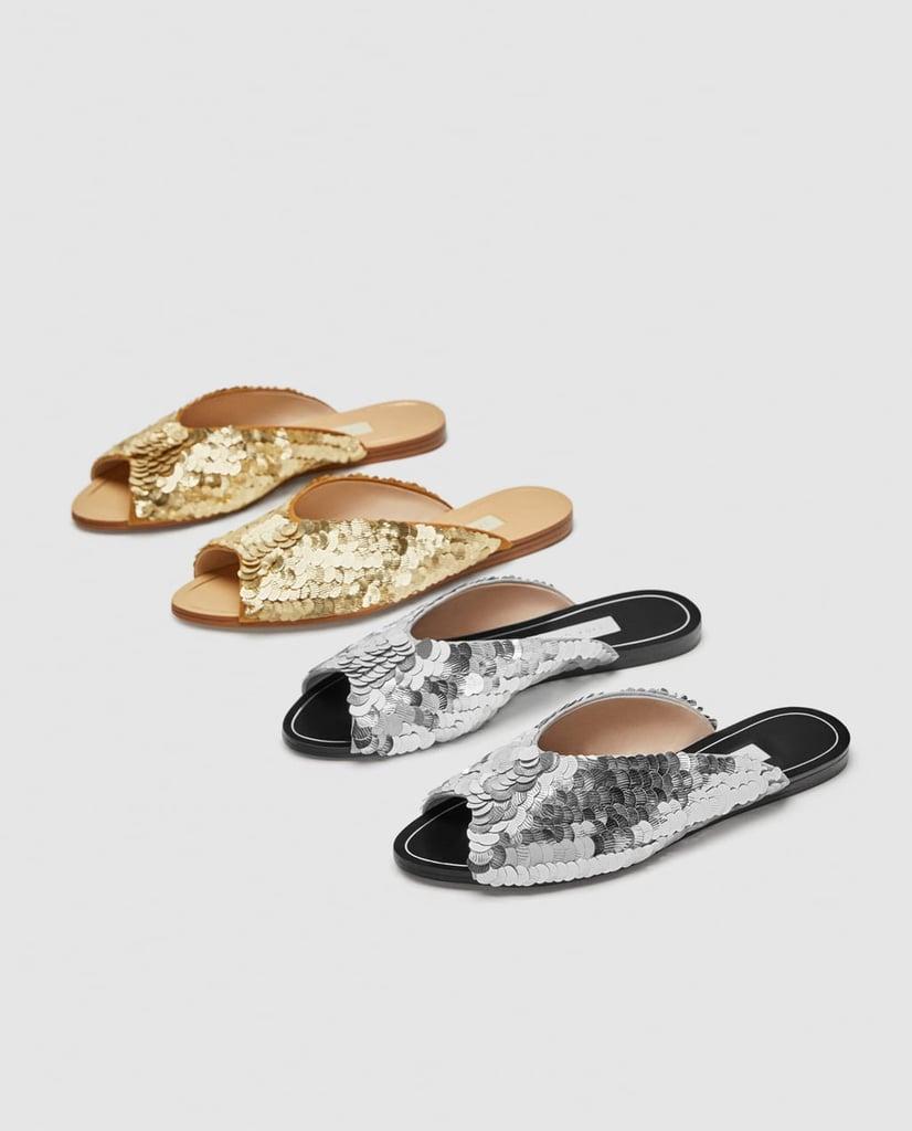 5ff2854181c8 Zara Silver Sequined Flat Sandals